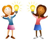 Cartoon Women Holding Lightbulbs Royalty Free Stock Photos