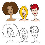 Cartoon Women with Modern Hairstyles Royalty Free Stock Photo