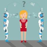 Cartoon Women 2 Robots Problem Solution Royalty Free Stock Images