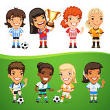 Cartoon Women Soccer Players Set Royalty Free Stock Images