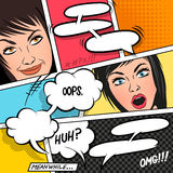 Cartoon Women and Speech Bubbles Royalty Free Stock Image