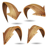 Cartoon Wood Arrows Signs Set Stock Image