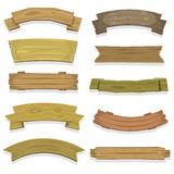 Cartoon Wood Banners And Ribbons Stock Image