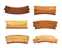 Cartoon Wood Blank Banners And Ribbons, Western Signs Vector Set Stock Photography