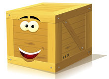 Cartoon Wood Box Character Stock Photography