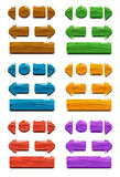 Cartoon wood buttons for game or web design Stock Photo