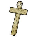 Cartoon wood cross Stock Photography