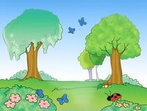 Cartoon wood digital illustration for kids Stock Images