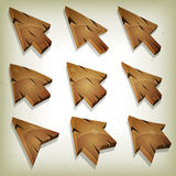 Cartoon Wood Icons, Cursor And Arrows Royalty Free Stock Images