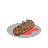 cartoon wood and shuriken ninja replacement body Royalty Free Stock Photo