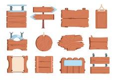 Cartoon wood signboard. Sign board frame banner wooden plank old vintage boards signposts. Vector game vector illustration