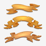 Cartoon wood signs or wooden ribbons royalty free illustration