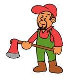 Cartoon woodcutter. A woodcutter holding an axe Stock Photo