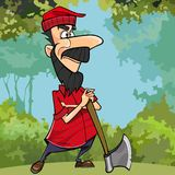 Cartoon woodcutter in the forest is leaning on the axe Royalty Free Stock Photography