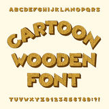 Cartoon wooden alphabet font. Type letters, numbers, symbols. stock illustration