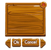 Cartoon wooden assets and buttons For Ui Game Stock Photos
