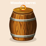 Cartoon wooden barrel closed, game elements. In vector stock illustration