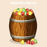 Cartoon wooden barrel full of colorful gems, game elements vector illustration