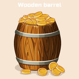 Cartoon wooden barrel full of gold coins, the game elements Royalty Free Stock Photography