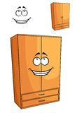 Cartoon wooden bedroom cupboard or wardrob Royalty Free Stock Photo
