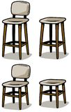 Cartoon wooden chairs vector icon set. Cartoon wooden chairs isolated in white background. Bar furniture. Vector icon set Royalty Free Stock Image