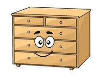 Cartoon wooden chest of drawers Stock Photography
