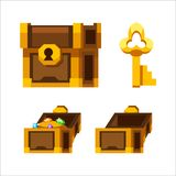 Cartoon wooden chest with gold and key. Set royalty free illustration