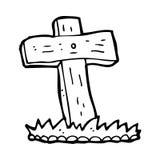Cartoon wooden cross grave Stock Photo