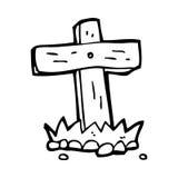 Cartoon wooden cross grave Stock Photos