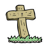 Cartoon wooden cross grave Royalty Free Stock Image