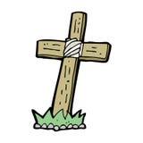 Cartoon wooden cross grave Stock Images