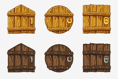 Cartoon Wooden Door, vector assets For Ui Game. Cartoon Wooden different shape Door, vector assets For Ui Game vector illustration