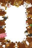 Cartoon wooden frame with different farm animals like dogs sheep cat pig chicken goat and rooster Stock Photography