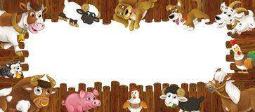 Cartoon wooden frame with different farm animals like dogs sheep cat pig chicken goat and rooster Stock Photos