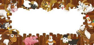Cartoon wooden frame with different farm animals like dogs sheep cat pig chicken goat and rooster Royalty Free Stock Photos