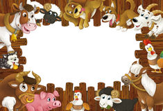 Cartoon wooden frame with different farm animals like dogs sheep cat pig chicken goat and rooster Royalty Free Stock Photo