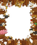 Cartoon wooden frame with different farm animals like dogs sheep cat pig chicken goat and rooster Stock Photo