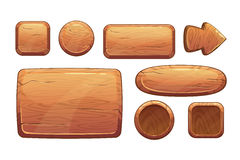 Cartoon wooden game assets. Wood kit for game ui development, gui elements
