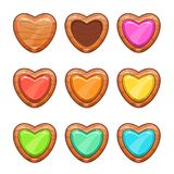 Cartoon wooden hearts set. Vector love sign icons, isolated on white background stock illustration