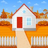 Cartoon wooden house in fall season. Illustration of Cartoon wooden house in fall season Stock Photography