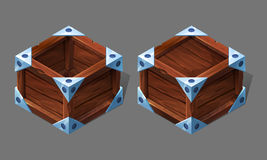 Cartoon wooden isometric box with metallic elements. Stock Photos