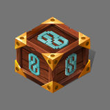 Cartoon wooden isometric box with metallic sign. Stock Photography