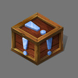 Cartoon wooden isometric box with metallic sign. Royalty Free Stock Photos