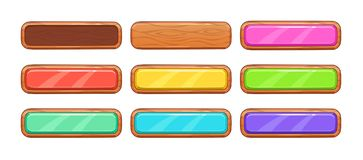 Cartoon wooden long horizontal buttons royalty free illustration