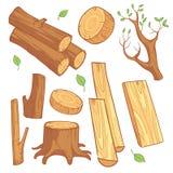 Cartoon wooden materials, lumber, firewood, wood stump vector set. Wooden material for firewood, illustration of natural wood log Stock Photos