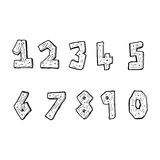 Cartoon wooden numbers Royalty Free Stock Photo