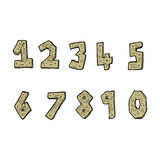 Cartoon wooden numbers Royalty Free Stock Photos