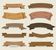 Cartoon Wooden Ribbons And Banners Royalty Free Stock Photo