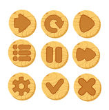 Cartoon wooden vector buttons for game. Set of cartoon wooden vector buttons for game UI. Web icons, isolated vector elements Stock Photography