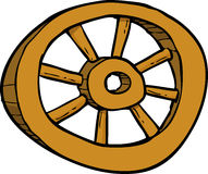 Cartoon wooden wheel Stock Image